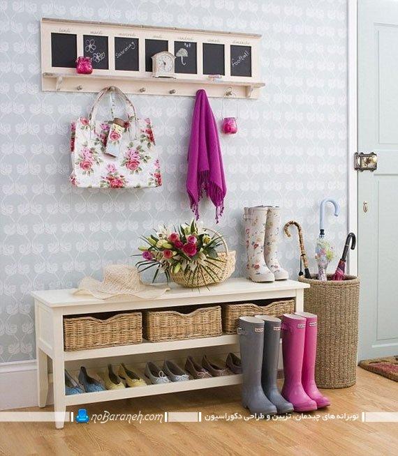 جاکفشی و جالباسی سفید چوبی، مدل جا کفشی سه تکه سفید رنگ طرح کلاسیک. مدل های جدید و فانتزی جاکفشی و رخت آویز دیواری.