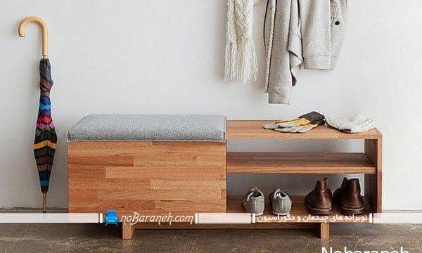 جا کفشی چوبی mdf با طراحی شیک و ساده