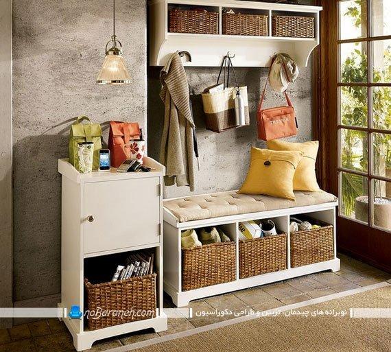 جاکفشی سه تکه با جالباسی چوبی و کمد و قفسه. مدل جدید جاکفشی نشیمن دار برای کنار درب ورودی منزل با عکس.
