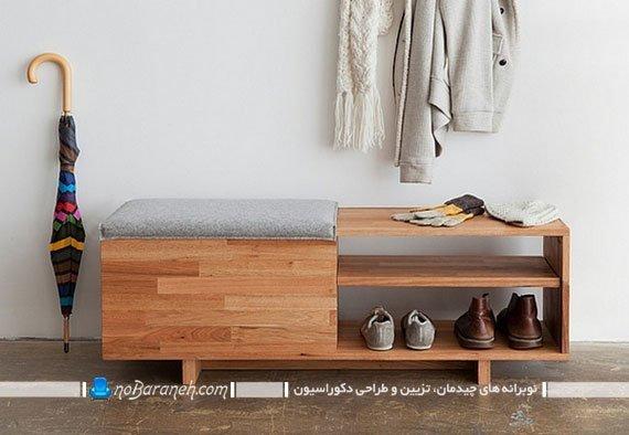 جاکفشی نشیمن دار چوبی با فضا و مبل نشیمن