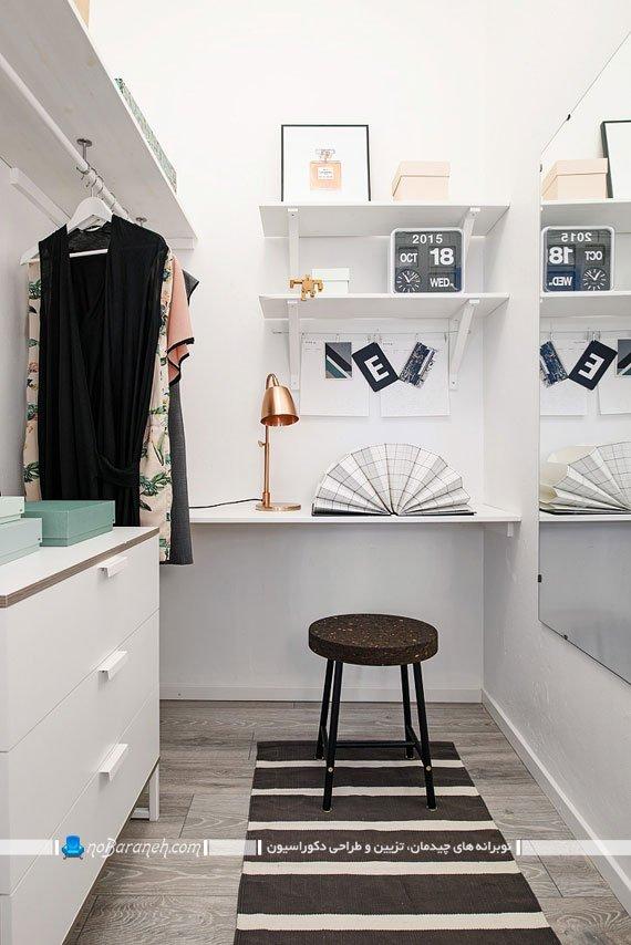 طراحی دکوراسیون اتاق کار کوچک و رختکن
