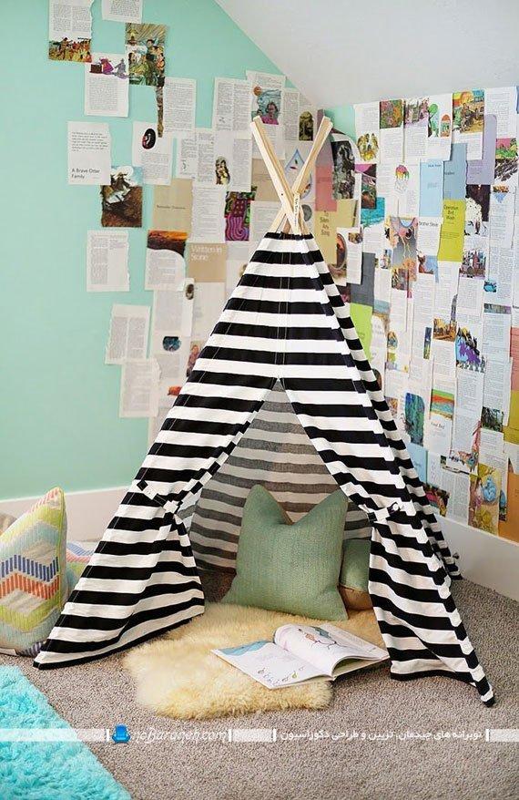 چادر بازی برای اتاق کودک به شکل مثلثی
