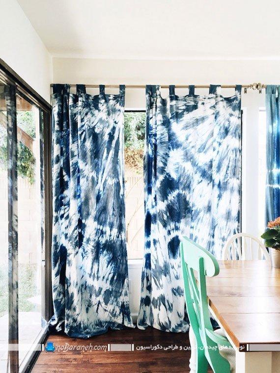 پرده اتاق نشیمن با طرح و رنگ آبی