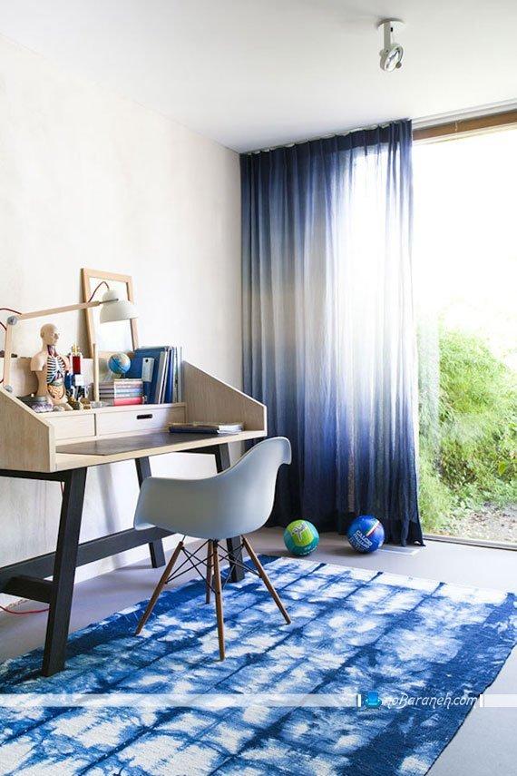 پرده اتاق خواب با طرح و رنگ آبی