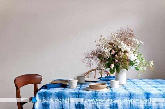 رومیزی طرح دار آبی رنگ