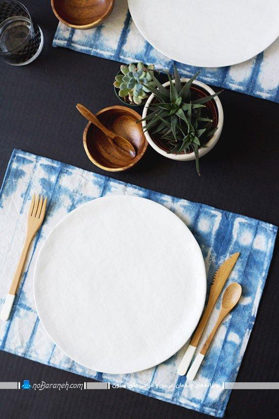 تزیین میز ناهارخوری با رنگ و طرح آبی