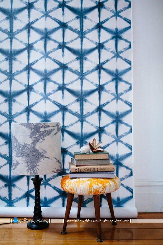 کاغذ دیواری طرح دار آبی