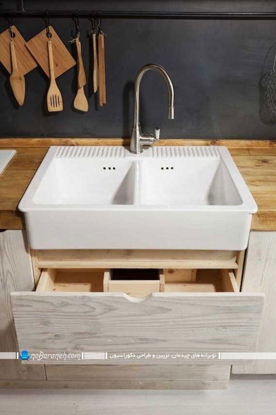 کابینت آشپزخانه با جنس و طراحی ساده و متفاوت