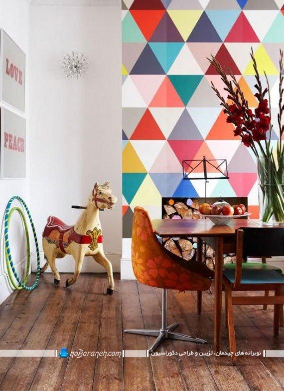 کاغذ دیواری طرح دار اتاق ناهارخوری