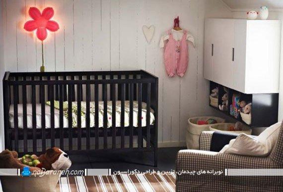 تزیین اتاق نوزاد دختر با سیاه و سفید. دکوراسیون شیک اتاق نوزاد دختر. مدل مبل اتاق نوزاد ایکیا