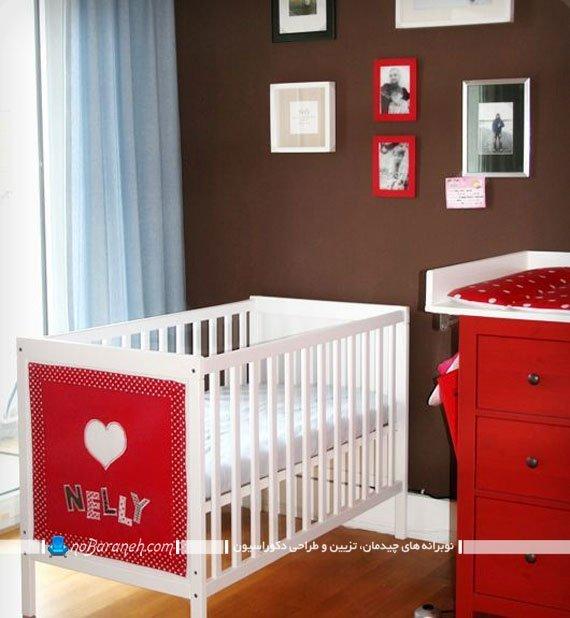 تزیین شیک اتاق نوزاد دختر با رنگ قرمز. سیسمونی دخترانه اتاق نوزاد با طرح و مدل ایکیا