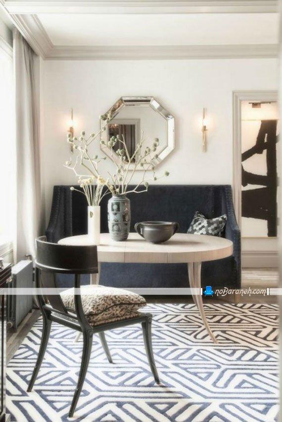 فرش شیک و ساده اتاق ناهارخوری