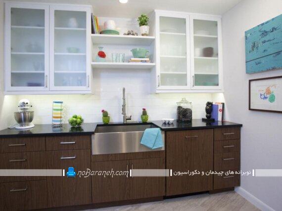 رنگ بندی سفید و قهوه ای کابینت آشپزخانه با طرح و مدل های جدید شیک مدرن ساده 2019 2020 2021