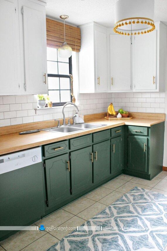 مدل های جدید و شیک کابینت سبز و سفید آشپزخانه. عکس و مدل طرح های کلاسیک کابینت آشپزخانه با رنگ بندی سفید و سبز