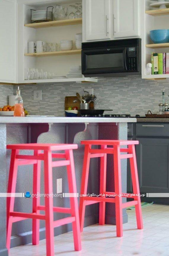 صندلی اپن آشپزخانه با رنگ پاستلی