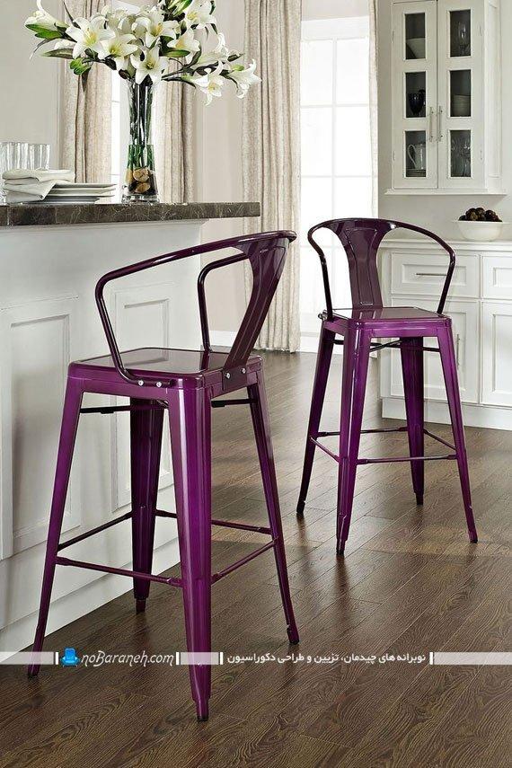 صندلی اپن آشپزخانه با طرح ساده و رنگ بنفش
