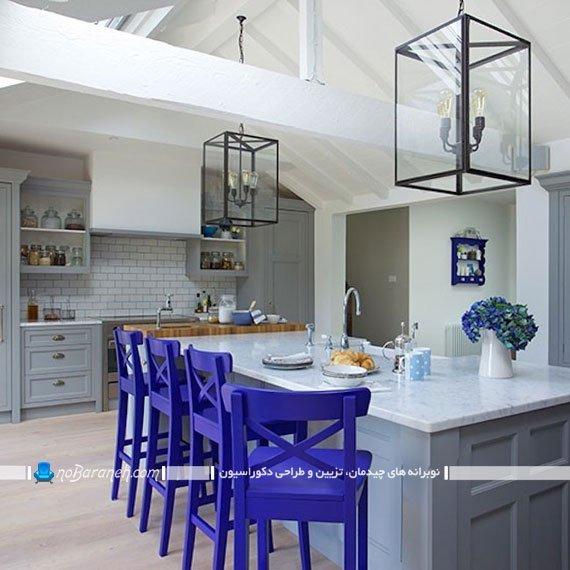 صندلی اپن با رنگ آبی صندلی اپن مدرن و جدید در مدل های جدید و شیک. طرح های جدید صندلی اپن و جزیره آشپزخانه