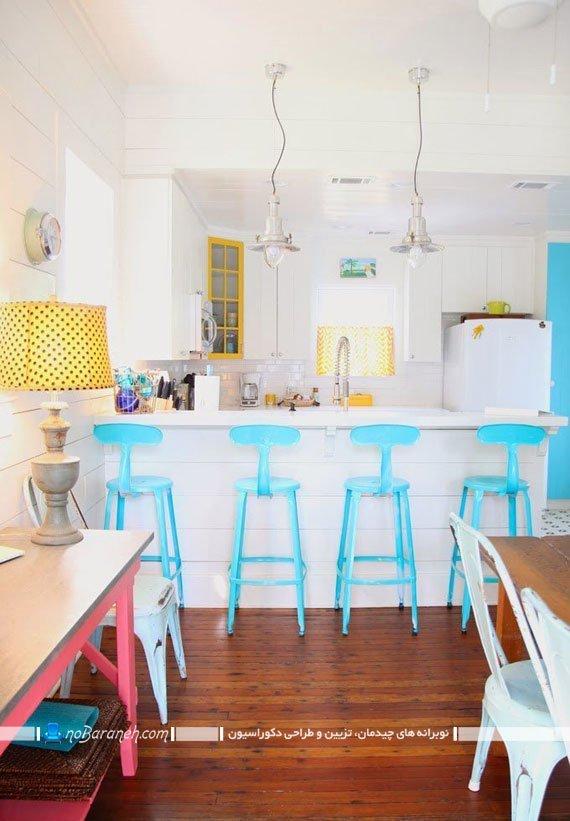 صندلی بار و اپن آشپزخانه با رنگ آبی