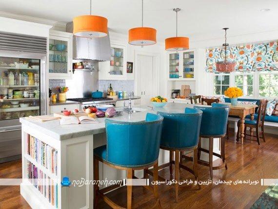 صندلی اپن آشپزخانه با رنگ آبی. مدل های جدید صندلی اپن کلاسیک