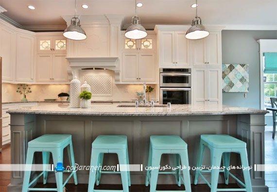 بهترین صندلی اپن شیک مدرن ساده کلاسیک چوبی مدل صندلی اپن آشپزخانه با رنگ آبی