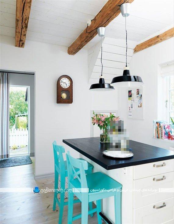 مدل صندلی اپن آشپزخانه با رنگ آبی. طرح جدید و شیک ساده صندلی چوبی برای میز جزیره آشپزخانه
