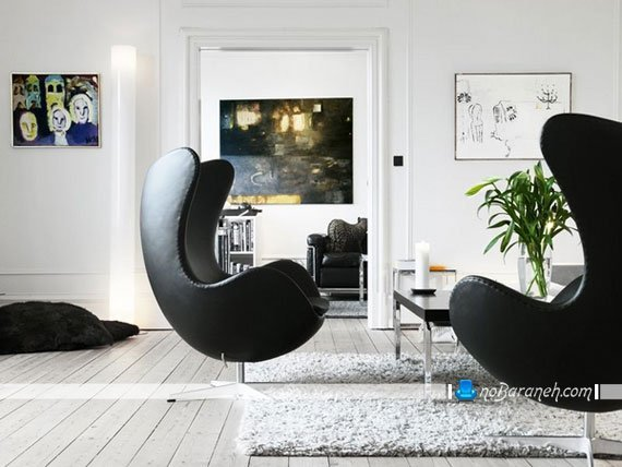 مبل و صندلی راحتی چرمی و مدرن با رنگ سیاه