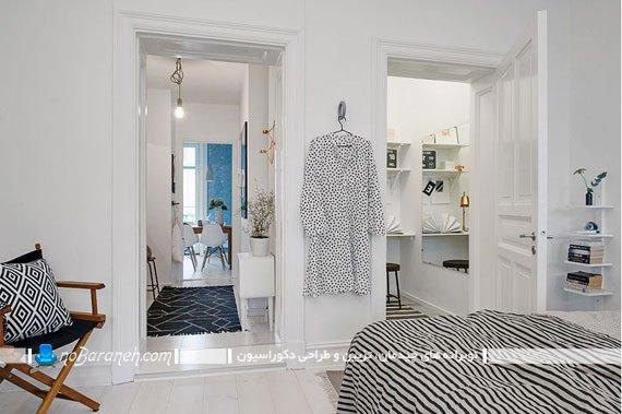 تزیین دکوراسیون آپارتمان 40 متری با رنگ سیاه و سفید
