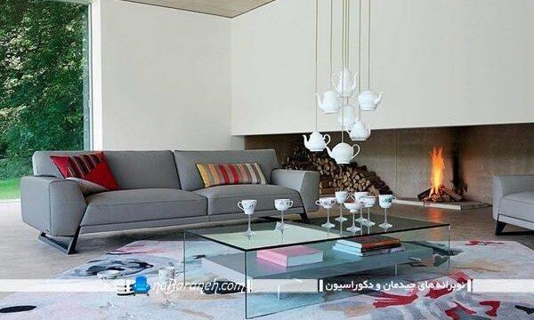 کاناپه راحتی خاکستری و طوسی رنگ با مدل ساده