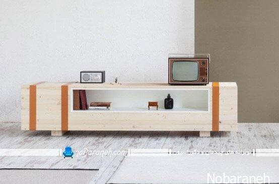 میز تلویزیون و نیمکت چوبی مدرن با طراحی ظریف