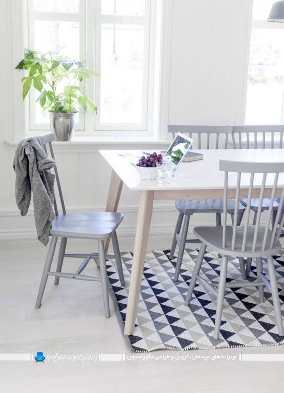 فرش طرح دار در زیر میز ناهارخوری