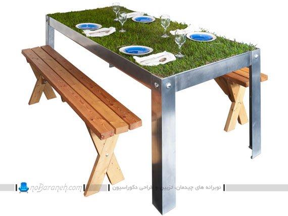 میز ناهارخوری فلزی با نیمکت چوبی
