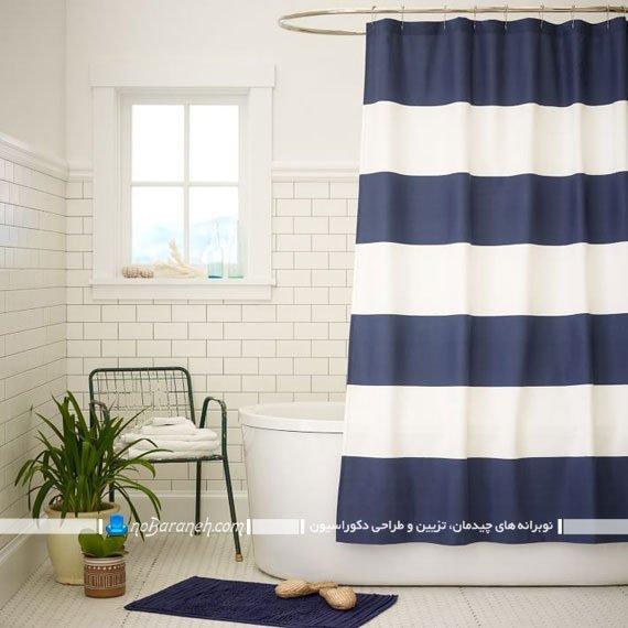 تزیین دکوراسیون حمام با پرده سفید و آبی