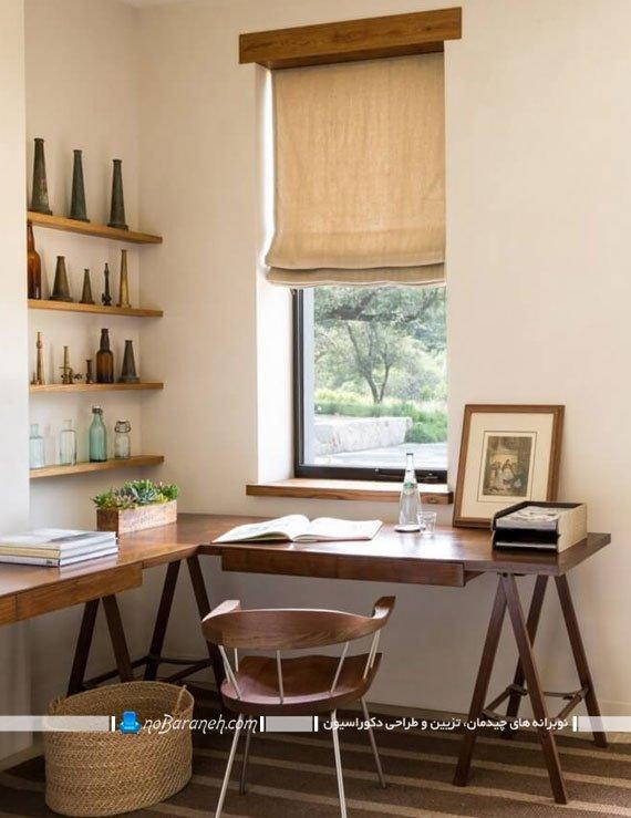 میز تحریر چوبی با طرح و مدل ال شکل