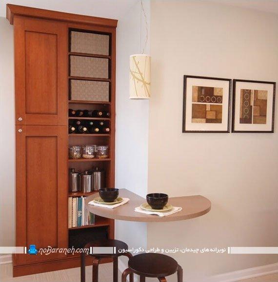 میز قهوه خوری دیواری به شکل نود درجه
