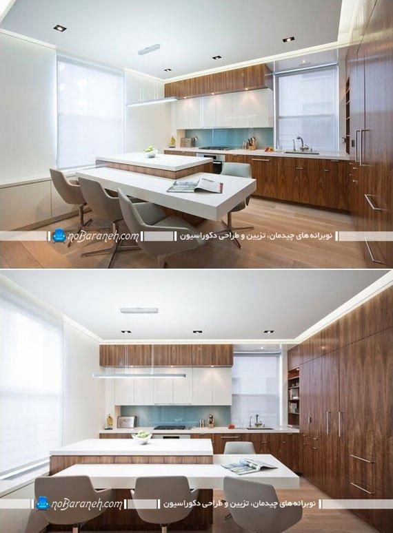 میز اپن آشپزخانه با طراحی ال