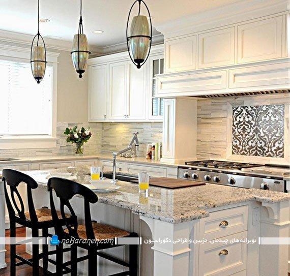 سنگ گرانیتی سفید طرح دار برای رویه کابینت آشپزخانه
