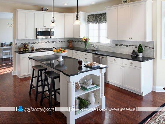 تزیین دکوراسیون آشپزخانه با سنگ گرانیت مشکی سیاه
