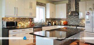 کابینت های مدرن آشپزخانه با رویه سنگ گرانیت