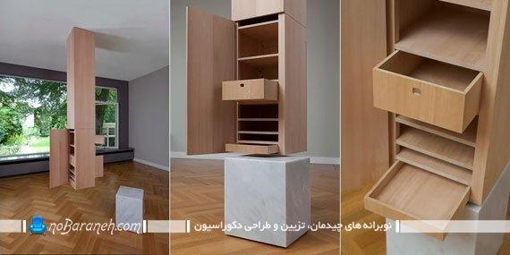 کمد و ستون چوبی برای فضاسازی