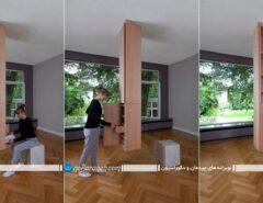 کمد چوبی سقفی با قفسه و طبقه