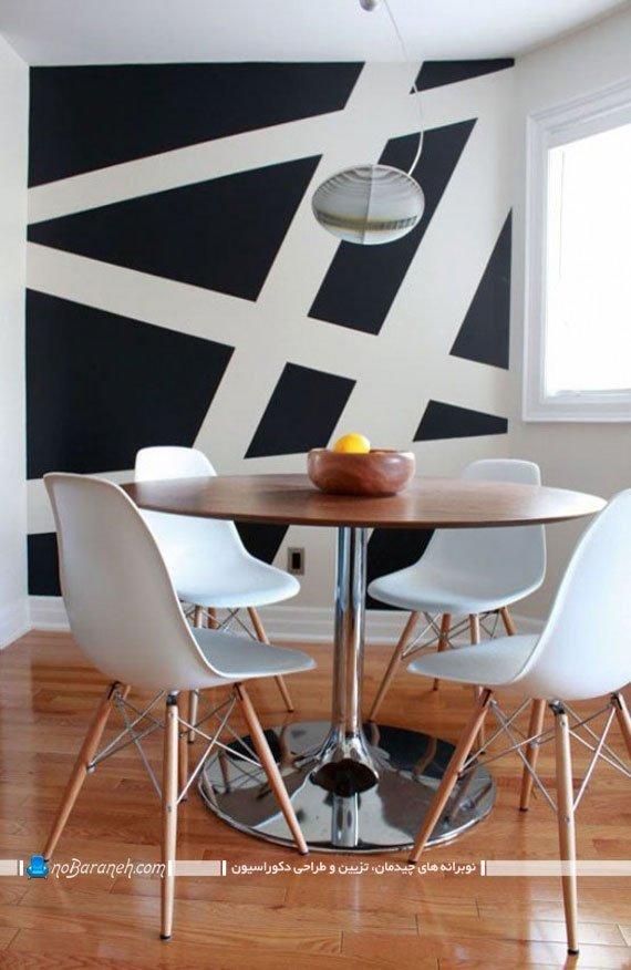 تزیین شیک و مدرن اتاق نهارخوری با کاغذ دیواری ساده