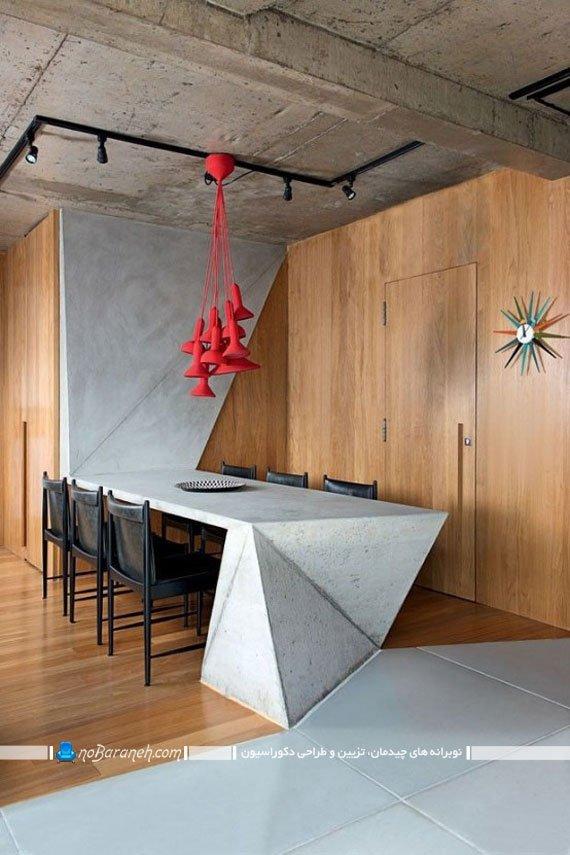 مدل میز نهارخوری مدرن و ساده با طرح و شکل سه بعدی