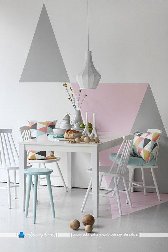 دیزاین و تزیین اتاق نهارخوری با کاغذ دیواری طرح دار