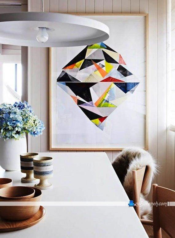 تزیین دیوار اتاق نهارخوری با تابلو عکس
