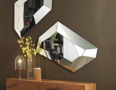 تزیین دیوار با آینه های دکوراتیو مدرن و چند وجهی