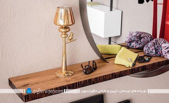آینه دیواری گرد با شلف چوبی. آینه شلف برای تزیین دیوار منزل. مدل های جدید و شیک آینه دیواری شیک مدرن فانتزی برای تزیین پذیرایی