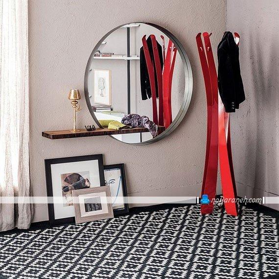 آینه های ساده دایره ای شکل با شلف چوبی