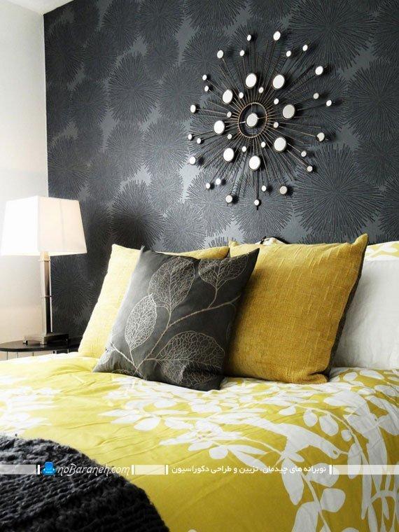 طراحی دکوراسیون اتاق خواب با رنگ زرد و خاکستری