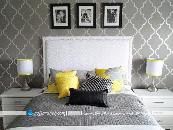 اتاق خواب با رنگ بندی زرد و خاکستری
