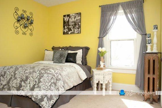 اتاق خواب کلاسیک با دیوارهای زرد رنگ